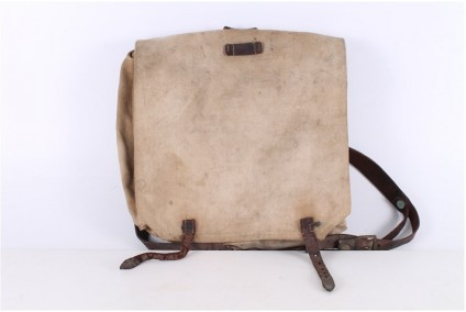 Original WWII Canvas and Leather Soldiers Rucksack Backpack.