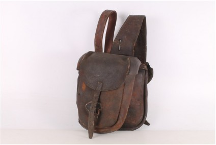 Original WWII Brown Leather Cavalry Bag.